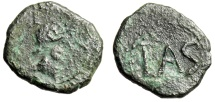 "Ancient Coins - Spain, Lastigi AE20 ""Helmeted Bust & LAS in Wreath"" Circa 150-100 BC Rare"