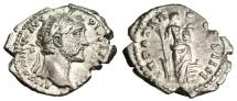 """Ancient Coins - Antoninus Pius Silver Denarius """"Annona, Foot on Prow"""" Rome 157 AD RIC 260"""
