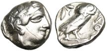 "Ancient Coins - Attica, Athens Silver AR Tetradrachm ""Athena & Owl"" Old Style No Cuts nVF"
