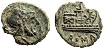 "Ancient Coins - Celtic-Iberian Imitation of Roman Republic AE Semis ""Saturn & Prow"" EF"
