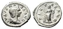 "Ancient Coins - Julia Maesa (Grandmother of Elagabalus) AR Denairus ""Pietas, Altar"" RIC 263 VF"