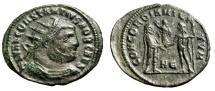 """Constantius I Chlorus AE Radiate """"CONCORDIA MILITVM Jupiter"""" Heraclea VF"""
