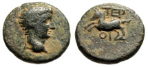 """Ancient Coins - Tiberius AE20 of Lycia, Termessos Minor """"Horse Galloping Left"""" nVF Attractive"""