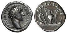 "Ancient Coins - Marcus Aurelius as Caesar AR Denarius ""Emblems of Priesthood"" RIC 242a VF"