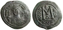 "Ancient Coins - Justinian I The Great AE Follis 45mm ""Facing Helmeted Bust & Large M"" Cyzicus VF"