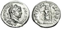 "Ancient Coins - Caracalla Silver Denarius ""MARTI PACATORI Mars, Branch"" RIC 222 Scarce Good VF"