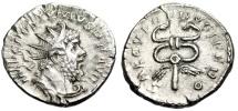 "Ancient Coins - Postumus Silver Antoninianus ""SAECVLO FRVGIFERO Winged Caduceus"" RIC 84 gVF"