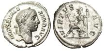 "Ancient Coins - Severus Alexander Silver Denarius ""Virtus Seated on Cuirass"" RIC 221 Choice EF"