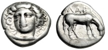 "Ancient Coins - Thessaly, Larissa Silver Drachm ""Nymph Facing & Horse Grazing"" gF Attractive"