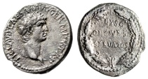 "Ancient Coins - Claudius I Silver Denarius ""EX SC OB CIVES SERVATOS Oak Wreath"" RIC 16 gVF Rare"