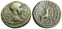 "Ancient Coins - Gordian III AE26 ""Pella Enthroned"" Macedonia Pella SCARCE"
