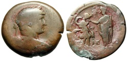 "Ancient Coins - Hadrian AE Drachm ""Emperor Greeted With a Kiss By Alexandria"" Egypt Year 15"