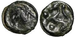 "Ancient Coins - Celtic Gaul, Northwest, Senones Tribe AE19 ""Celt Warrior Face & Horse, Pellets"""