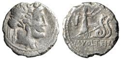 """Ancient Coins - M Volteius AR Denarius """"Ceres in Biga Serpents, Scorpion"""" 75 BC Rare"""
