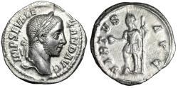 "Ancient Coins - Severus Alexander AR Denarius ""VIRTVS AVG Emperor in Battle Gear"" Rome gVF"