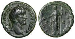 "Ancient Coins - Antoninus Pius AE As ""Clementia"" Rome 140-144 AD RIC 699a VF Green Patina"