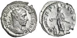 """Ancient Coins - Volusian AR Antoninianus """"Emperor at Tripod Altar"""" 251-253 AD RIC 141 EF"""