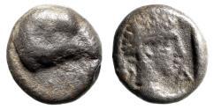 "Ancient Coins - Caria, Halikarnassos AR Hemiobol ""Head of Ram & Male"" 400-340 BC Rare"