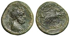 "Ancient Coins - Sicily, Menainon AE Pentonkion ""Serapis, Atef Crown & Nike in Biga"" Good VF"