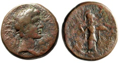 "Ancient Coins - Augustus AE25 ""Athena Itonia Hurling Spear"" Koinon of Thessaly Good Fine"