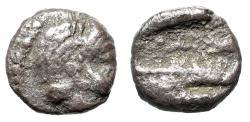 "Ancient Coins - Phoenicia, Arados AR Tetartemorion ""Melqart Bust & Prow of Galley"" Rare"