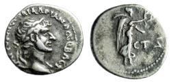 "Ancient Coins - Hadrian AR Hemidrachm ""Nike Advancing"" Cappadocia Caesarea Year 4 aVF"