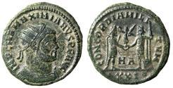 "Ancient Coins - Maximianus Herculius AE Antoninianus ""Presented Victory by Jupiter"" Heraclea VF"