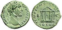 """Ancient Coins - Antoninus Pius AE Sestertius """"Octastyle Temple Augustus & Livia"""" Rare RIC 978 EF"""