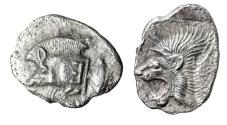 "Ancient Coins - Mysia, Kyzikos (Cyzicus) AR Obol ""Forepart Boar, E Shoulder & Lion"" EF"
