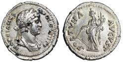 "Ancient Coins - Hadrian AR Denarius ""FORTVNA AVGVST Fortuna, Polos"" Eastern Mint Extremely Rare"