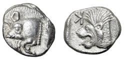 """Ancient Coins - Mysia, Kyzikos AR Obol """"Forepart Boar & Lion, Retrograde K"""" Near EF Well Struck"""