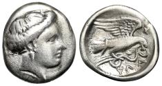"Ancient Coins - Euboia, Chalkis AR Drachm ""Eagle Flying With Serpent in Talons, Kantharos"" nVF"