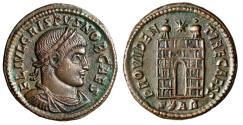 """Ancient Coins - Crispus Caesar AE20 """"PROVIDENTIAE CAESS Campgate S*AR"""" Arles RIC 266 gVF"""
