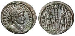 """Ancient Coins - Constantine II Caesar AE17 """"GLORIA EXERCITVS Soldiers"""" Lyons RIC 254 aEF"""