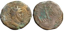 "Ancient Coins - Postumus AE Sestertius ""VICTORIA AVG Victory Trampling Captive"" Trier 261 AD aVF"