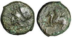 """Ancient Coins - Sicily, Syracuse AE Hemilitron """"Hippocamp & Helmeted Athena"""" VF"""