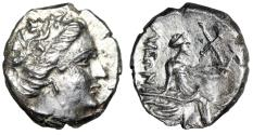 "Ancient Coins - Euboia, Histiaia AR Tetrobol ""Nymph Seated on Galley, Wing on Stern"" Near EF"