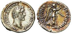 "Ancient Coins - Antoninus Pius AR Denarius ""Victory Walking, Holding Palm"" RIC 36 gVF Rare"