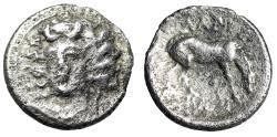 "Ancient Coins - Thessaly, Larissa AR Obol ""Facing Nymph Larissa & Horse Grazing"" Fine"