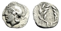 "Ancient Coins - Aeolis, Elaia AR Hemiobol ""Helmeted Athena & Laurel Wreath"" 450-400 BC aEF"
