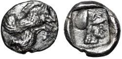 "Ancient Coins - Islands off Caria, Ialysos AR Obol ""Forepart Winged Boar & Athena"" EF"