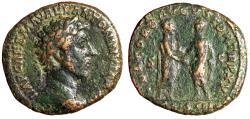 """Ancient Coins - Marcus Aurelius AE As """"Emperor & Lucius Verus Clasping Hands"""" RIC 801 Rare"""