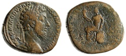 "Ancient Coins - Commodus AE Sestertius ""Italia Seated, Cornucopiae"" 184-185 AD RIC 447 Rare"