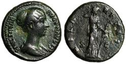 "Ancient Coins - Faustina II Junior AE As ""Hilaritas, Long Palm"" Rome 145-161 AD"