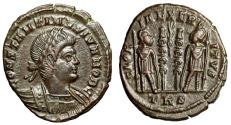 "Ancient Coins - Constantine II Caesar AE18 ""GLORIA EXERCITVS Soldiers, Palm Frond"" Trier RIC 556"