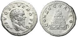 """Ancient Coins - Septimius Severus Posthumous AR Denarius """"CONSECRATIO Funeral Pyre"""" gVF Rare"""