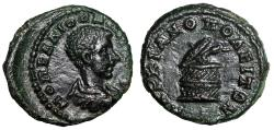 "Ancient Coins - Diadumenian AE17 Markianopolis, Thrace ""Serpent Arising Cista"" Good EF Very Rare"