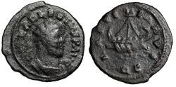 """Ancient Coins - Allectus BI Quinarius """"LAETITIA AVG Galley, Rowers, QC"""" Camulodunum RIC 124"""