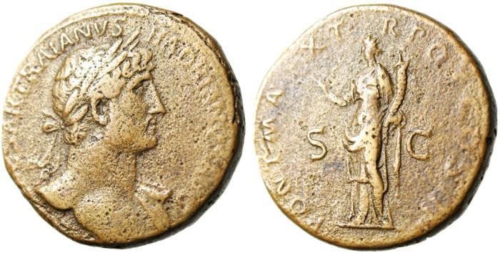 "Ancient Coins - Hadrian AE Sestertius ""Felicitas"" Rome RIC 563b Good Fine Nice Style"