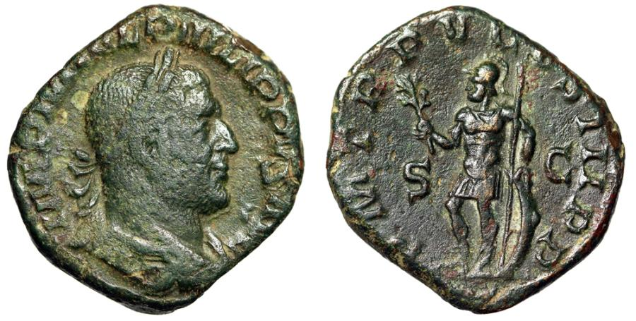 """Ancient Coins - Philip I AE Sestertius """"Mars Standing, Olive Branch & Spear, Shield"""" 248 AD VF"""